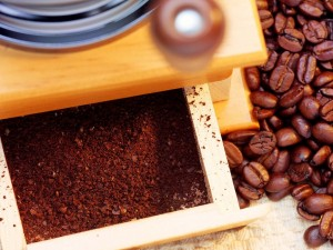 Postal: Granos de café troceados