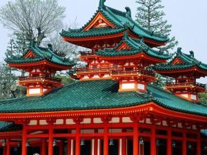 Postal: Santuario Heian en Kioto, Japón