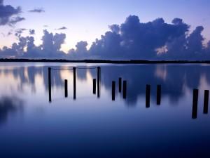 Postal: Agua en calma al anochecer