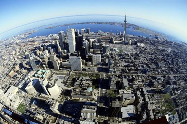 Vista de pájaro de la ciudad de Toronto