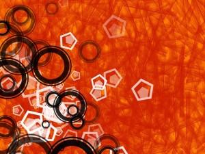 Postal: Figuras geométricas en el fondo naranja