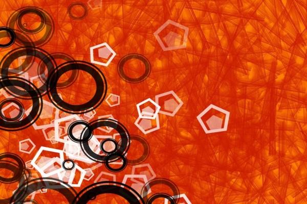 Figuras geométricas en el fondo naranja