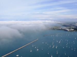 Postal: Vista aérea de barcos en el mar