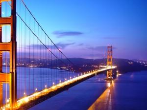 Postal: El Golden Gate visto al caer la noche
