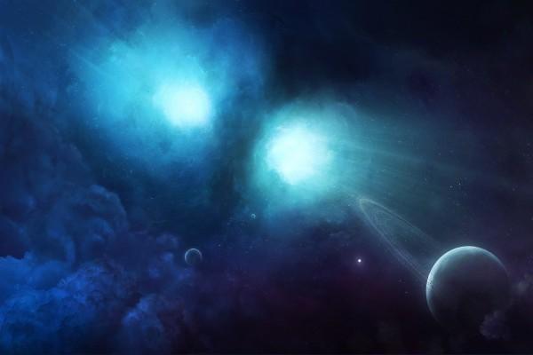 Dos focos de luz en el espacio