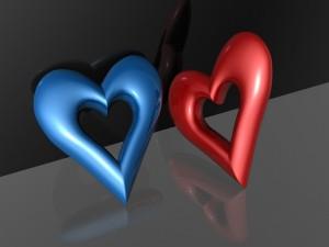 Corazón azul y corazón rojo