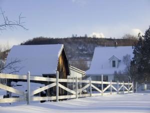 Nieve sobre las casas