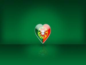 Bandera de Portugal en un corazón