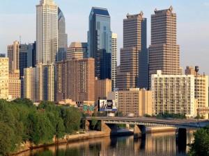 Los edificios y el río de Filadelfia