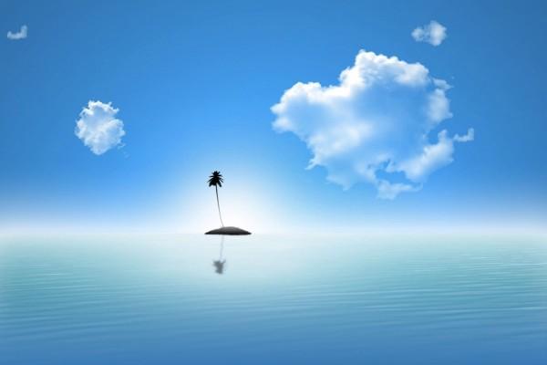 Isla con una palmera
