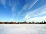 Nieve en un campo de fútbol