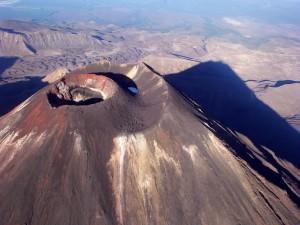 Vista aérea de un volcán