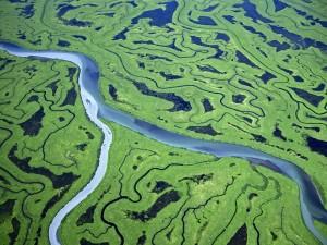 Vista aérea del río Copper, Alaska