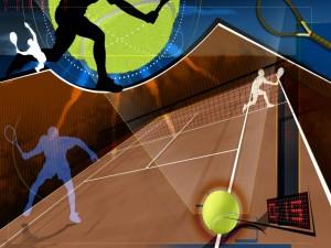 Siluetas jugando al tenis