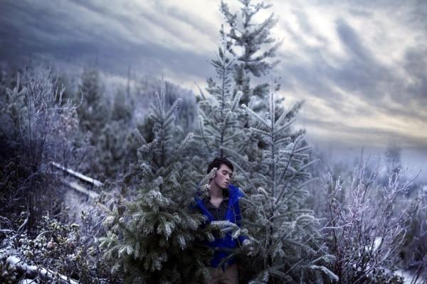 Joven sentado entre árboles nevados