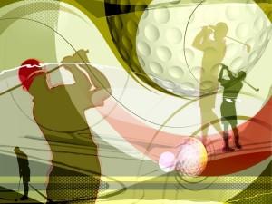 Postal: Siluetas jugando al golf