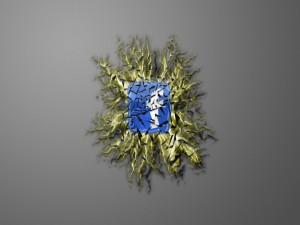 Postal: Arte abstracto con el logo de Facebook