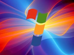 Postal: Windows 7 entre rayos de luces