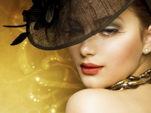 Retrato de mujer con sombrero negro