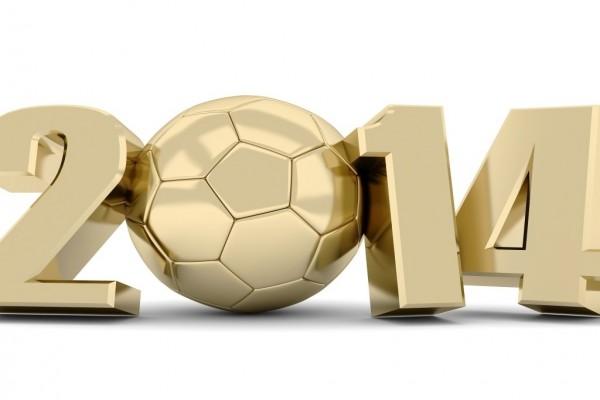 Mundial de Fútbol 2014 en color dorado