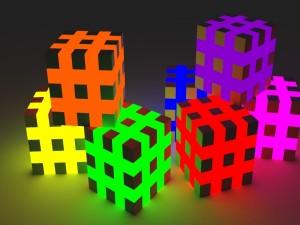 Cubos de colores en 3D
