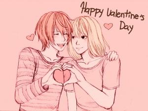 Postal: Pareja celebrando el día de San Valentín