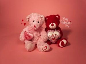 Osos de peluche y Feliz día de San Valentín
