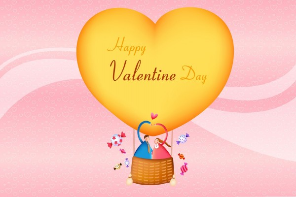 ¡Feliz Día de San Valentín! en el globo del amor