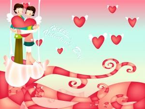 Corazones y novios en el Día de San Valentín
