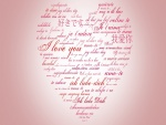 Corazón formado con varios idiomas del mundo