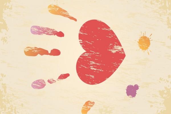 Huellas dactilares y un corazón
