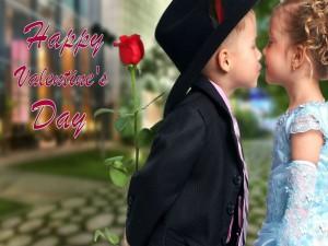 Postal: Dos niños en el Día de San Valentín
