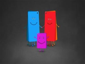 Postal: Gran familia de colores