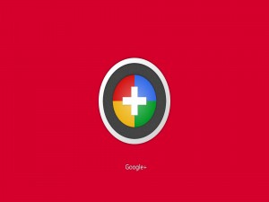 Google Plus en fondo rojo