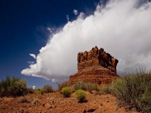 Una gran roca en el desierto