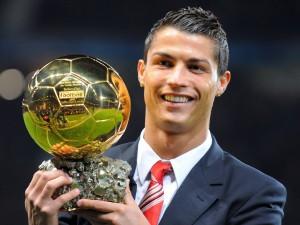 Cristiano Ronaldo con el Balón de Oro 2008