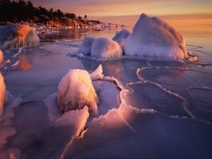 Rocas cubiertas de hielo