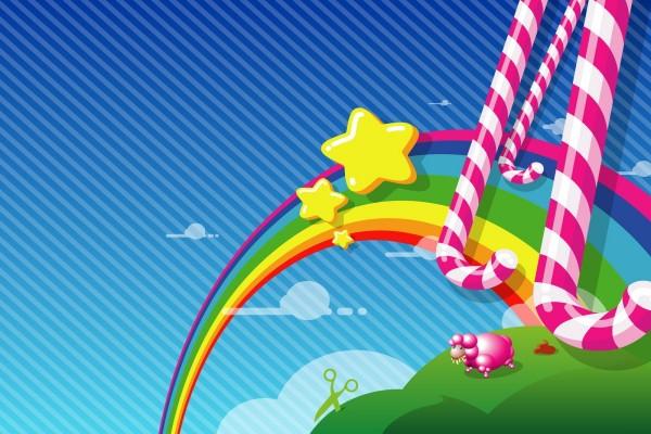Ovejita rosa y el arcoíris