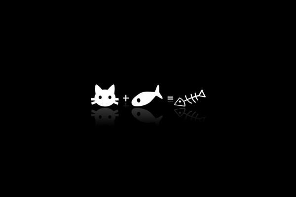 Gato más pescado igual a raspa