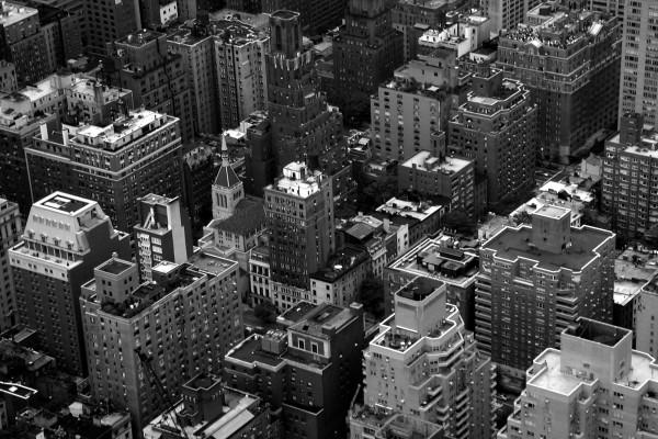 Foto aérea en blanco y negro