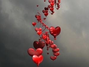 Postal: Una fila de corazones