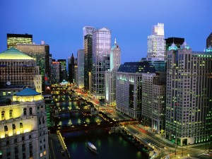 Río Chicago al anochecer