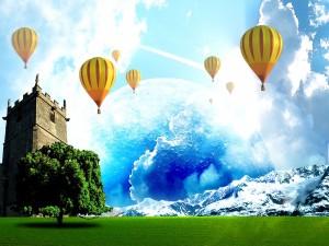 Postal: Volando en globo en un mundo fantástico