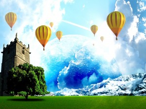 Volando en globo en un mundo fantástico