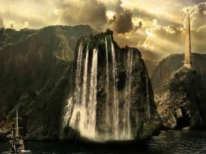 Postal: Barco cerca de la gran cascada