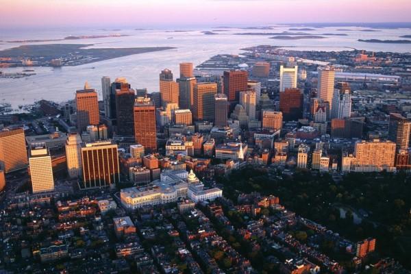 Vista aérea de Boston, Massachusetts