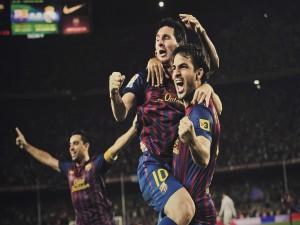 Postal: Jugadores del Barcelona celebrando un gol
