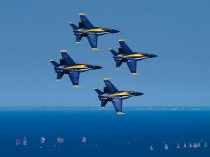 Blue Angels sobre el lago Michigan