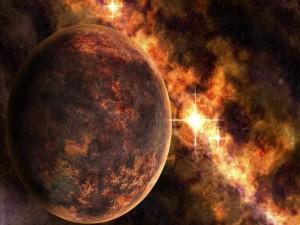 Postal: Estrellas y planeta