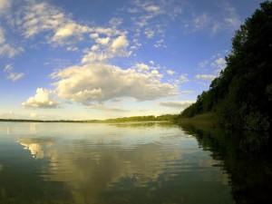 Postal: Luz y sombra en el lago